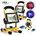 eTopLighting |2-Pack| Portable Outdoor LED Work Light Built-in Power Bank and Rechargeable Battery for Roadside Emergencies, Worksites, Garages