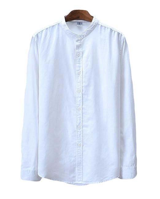 promo code a56bd 1c443 Icegrey Camicia Uomo con Collo Coreana Camicie di Lino a ...