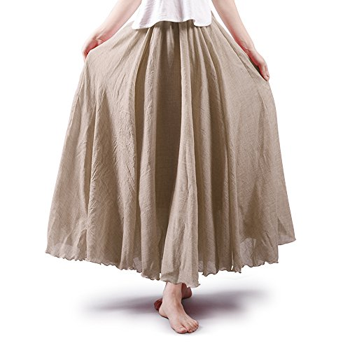 OCHENTA Women's Bohemian Elastic Waist Cotton Floor Length Skirt, Flowing Maxi Big Hem Off White 85CM