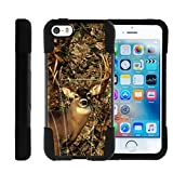 Apple iPhone SE case, iPhone 5 Case , iPhone 5s Cover Hard Shell Cover w/ Kickstand Soft Silicone MINITURTLE - Deer Hunting Leaves