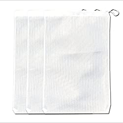 """Large Aquarium Mesh Media Filter Bags - High Flow 500 micron - 3 pack - 8"""" by 12"""" with Drawstrings for Activated Carbon - Reusable Fish Tank Charcoal Filter - Aquatic Bags for Fresh or Saltwater Tanks"""