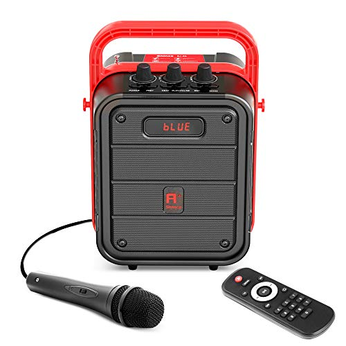 Shinco Portable Karaoke Machine, Bluetooth Speaker with Microphone, FM Radio, Audio Recording and Remote Control, Perfect for Small Party, Family Outing