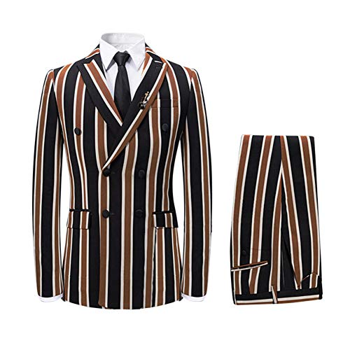 (Men's Colored Striped 3 Piece Suit Slim Fit Tuxedo Blazer Jacket Pants Vest Set (Coffee-DB, Large))
