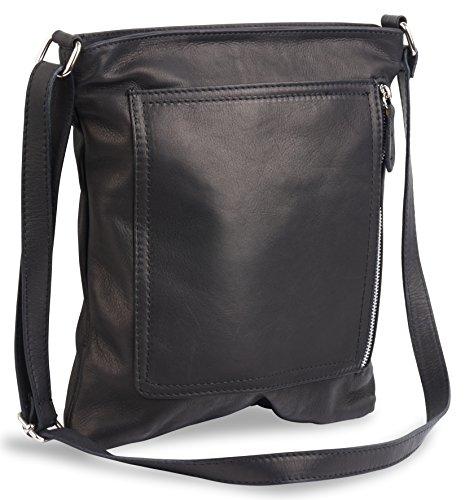 (LaGaksta Kate Italian Leather Crossbody Shoulder Bag Purse Handbag Black)
