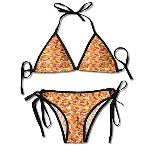 Bikini Swimsuit 2 Pieces Set,Seasonal Scene Ornate Illustration Sexy Bikini 2 Pi
