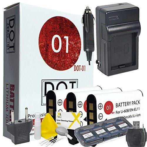60b Bundle (DOT-01 3x Brand 1200 mAh Replacement Olympus LI-60B Batteries and Charger for Olympus FE-370 Digital Camera and Olympus LI60B Accessory Bundle)