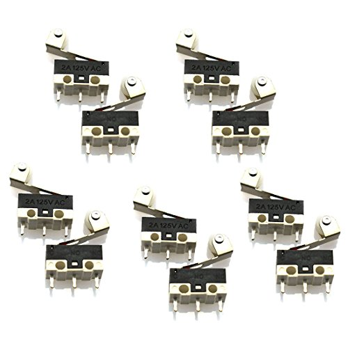 HJ Garden 10pcs 3pin Micro Limit Switch AC 125V 1A SPDT Miniature Mechanical Control Switch Long Roller Lever for Ardunio Electronic Circuit