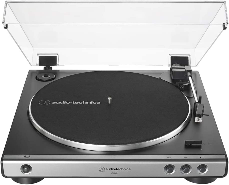 Audio-Technica At-LP60X-GM Fully Automatic Belt-Drive Stereo Turntable, Gunmetal/Black, Hi-Fidelity, Plays 33 -1/3 and 45 RPM Vinyl Records, Dust Cover, Anti-Resonance, Die-Cast Aluminum Platter