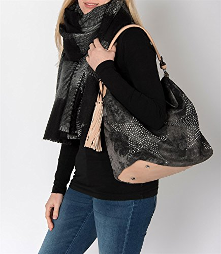 02012035 Black Schwarz Shoulder Star Vintage Bag Shimmering Women's Jeans with styleBREAKER Hellbraun Bag Diamond wxZqppS