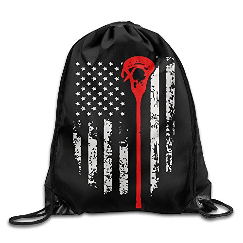 Lacrosse American Flag Funny Gym Travel Sports Drawstring Backpack Bag by Anyway