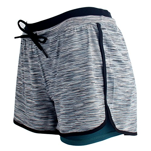 RIBOOM Women Workout Fitness Running Shorts, Double Layer Elastic Waistband Sport Shorts Slate Gray
