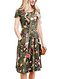 Women Floral Short Sleeve Tunic Vintage Midi Casual Dress with Pockets