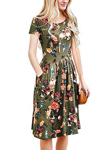 Short Sleeve Tunic Vintage Midi Casual Dress with Pockets Army Green M (Vintage Floral Summer Dress)