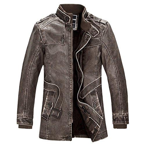Saprex Premium 2015 Newest Manmade Leather Coats Men Coats #Brown Size XL US