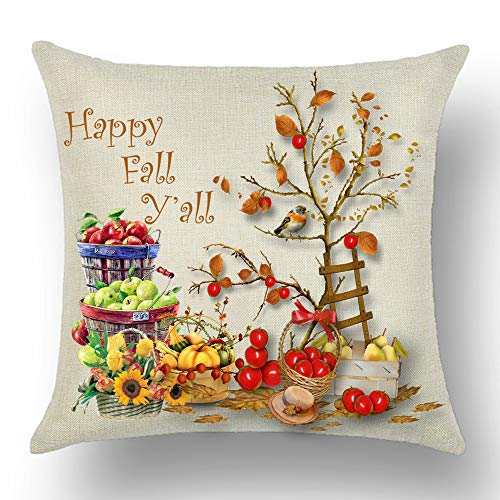 WePurchase Happy Autumn Fall Y'all Basket Green Red Apple Pumpkin Pear Tomato Sunflower Bird Ladder Cotton Linen Decorative Home Sofa Living Room Throw Pillow Case Cushion Cover Square 18x18 Inches ()