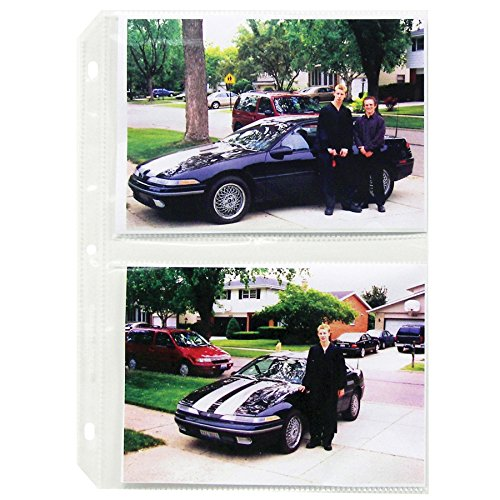 C-Line Ring Binder Photo Storage Pages for 5 x 7 Inch Photos, Side Load, 4 Photos/Page, 50 Pages per Box (52572)