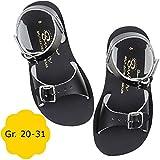 Salt Water Sandals by Hoy Shoe Baby Sun-San Surfer Flat Sandal, Black, 7 M US Toddler