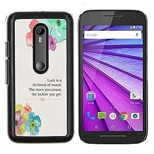 """Be-Star Único Patrón Plástico Duro Fundas Cover Cubre Hard Case Cover Para Motorola Moto G (3rd gen) / G3 ( Floral flor primavera Poema Mensaje"""" )"""