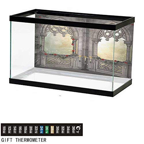 Aquarium Background,Gothic,Vintage Style Ottoman Palace Balcony for Sultans with Red Rose Flowers Ivy Terrace Image,Beige Fish Tank Backdrop 24
