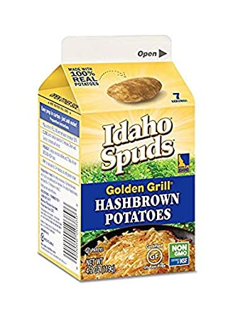 Idaho Spuds Real Potato, Gluten Free, Golden Grill Hashbrowns 4.2oz (8 Pack) (Limited Edition)