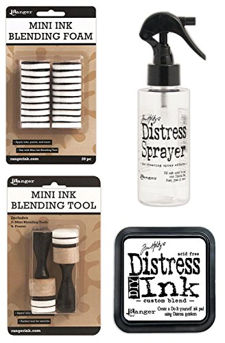 Tim Holtz Distress Bundle of 4 Items - Sprayer, DIY Ink Pad, Blending Tools, and Blending Foams by Ranger, Tim Holtz