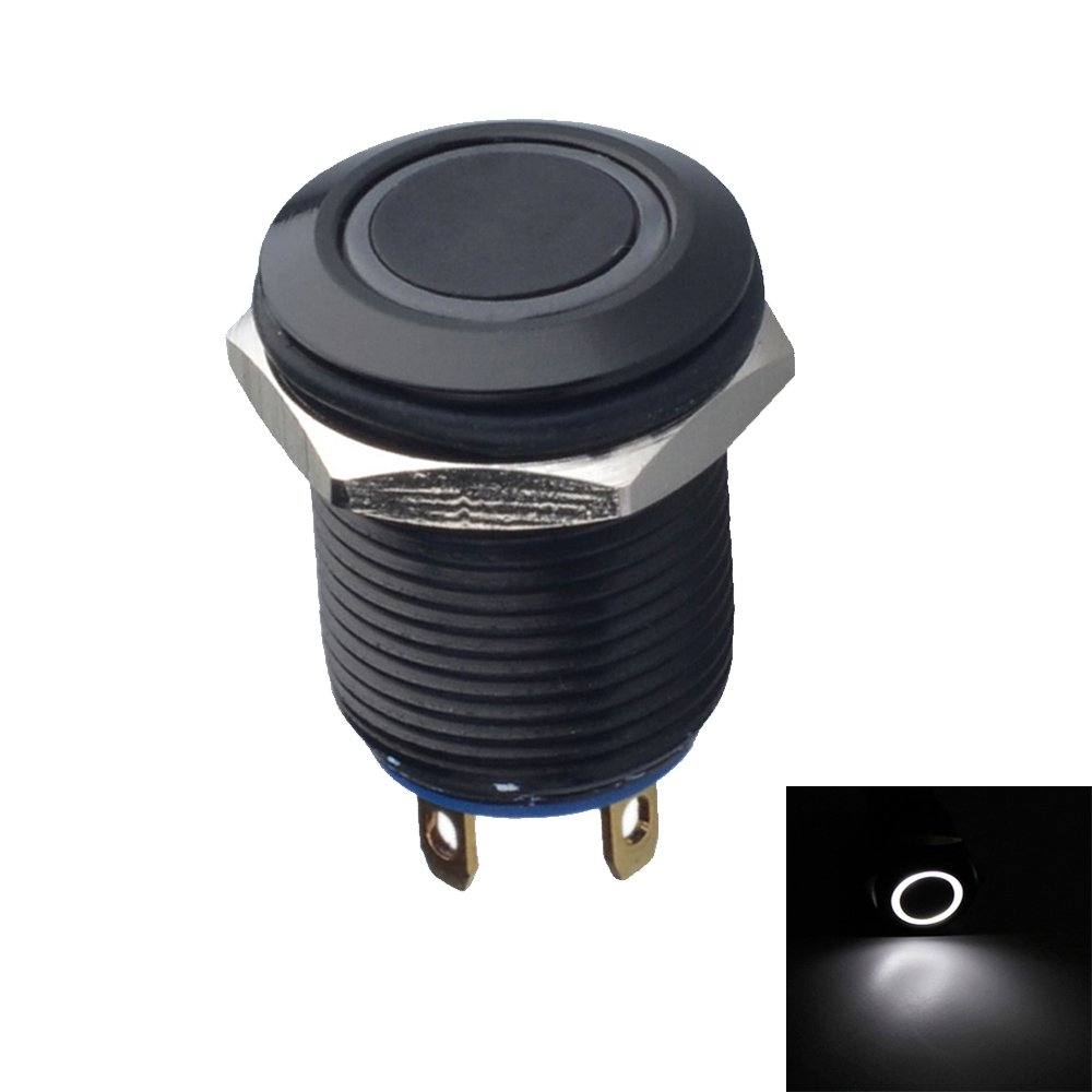 Mintice/™ Black Case 12mm White LED Light 2A Momentary Push Button Switch Metal Stainless Waterproof Car Boat