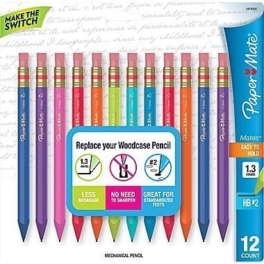 Paper Mate Mates 1.3mm Mechanical Pencils, 12 Colored Barrel Mechanical Pencils