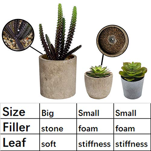 Hopewood Home Decor Small Fake Plant 3PCS Small Artificial Succulent Set Faux Potted Plant for Table Indoor Kitchen (6.2inch)