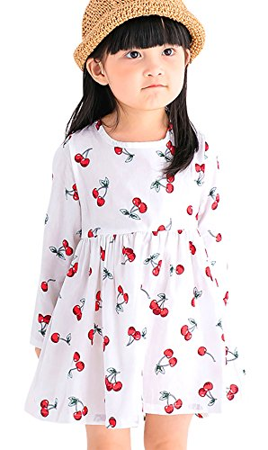 Happy Cherry Little Girl Long Sleeves Puffy Cherry One-Piece Dress Princess Dress Party Dresses For 6-7T Toddler - (Kids Cherry)