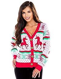 Tipsy Elves Women's Unicorn Ugly Christmas Sweater - White Cute Christmas Cardigan