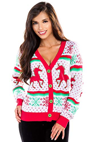 Women's Unicorn Ugly Christmas Sweater - White Cute Unicorn Christmas Cardigan: Small