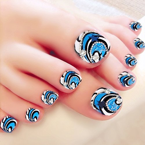 YUNAI Women's Artificail Toenail Blue Star with Bling Rhinestone Full Cover Fake Nails for Toes Wondermall