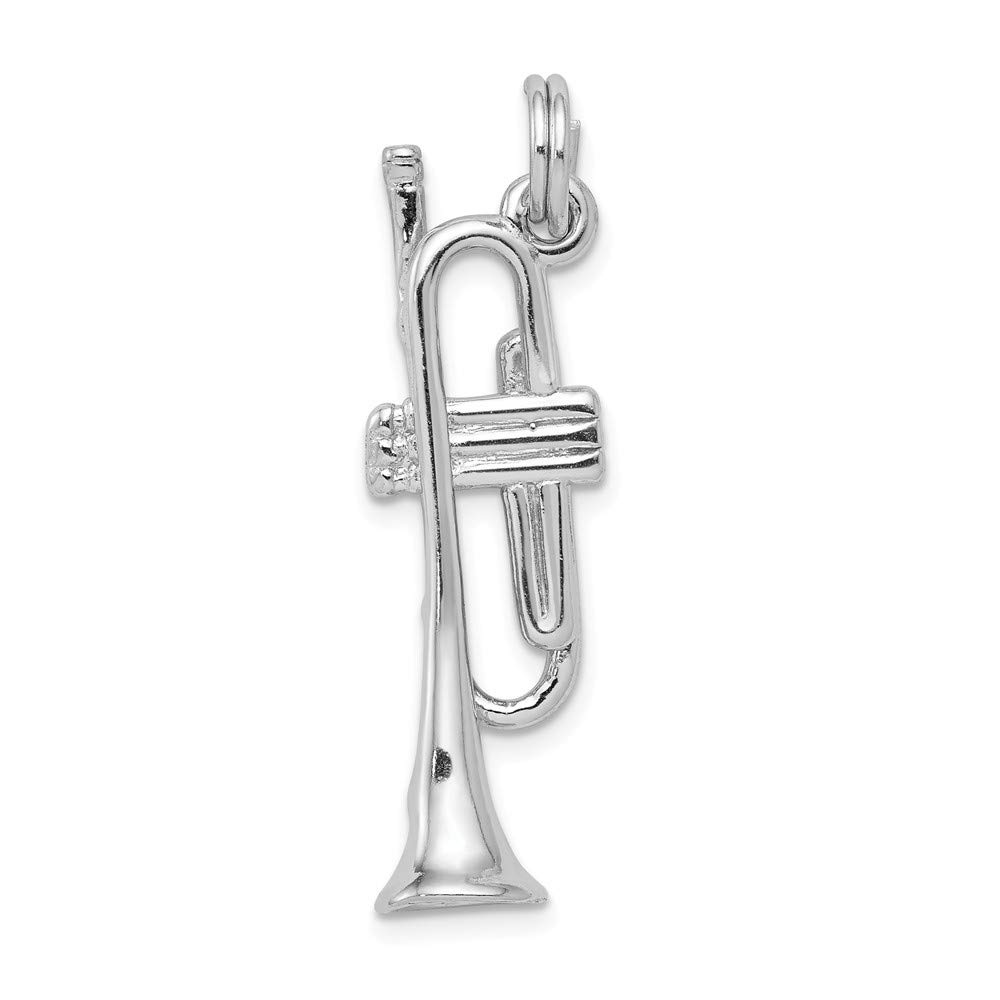 10mm x 30mm Jewel Tie Sterling Silver Polished Trumpet Pendant Charm