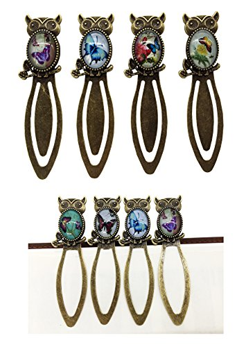 Metal Antique Bookmark Creative Night Owl Pattern Clip Bookmark 4PCS Vintage Bronze Paper Clip Book Marker For Reading Gift Random Image For Guests Party Favors Baby Shower Favor (Bronze-Owl)