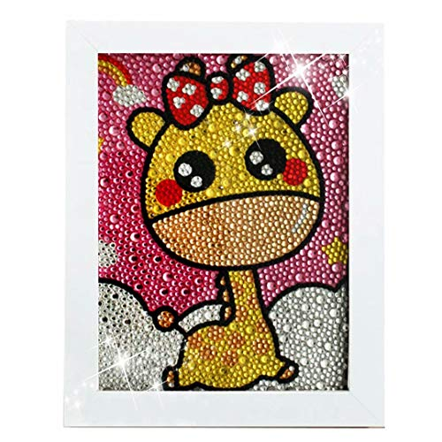 Giraffe Diamond Painting for Kids Full Drill Painting by Number Kits Arts Crafts Supply Set Rhinestone Mosaic Making for Home Wall Decor Gifts for Christmas Birthday Mothers Day -Include Wooden Frame