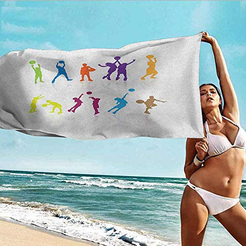 TT.HOME Polyester Bath Towel,Youth Colorful Silhouettes of Children Jumping and Playing Basketball with Reflections,Super Soft Highly Absorbent,W63x31L, Multicolor