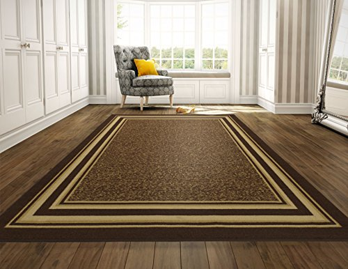 Ottomanson OTH2318-8X10 Ottohome Collection Contemporary Bordered Design Non-Slip Rubber Backing Area Rug, 8'2