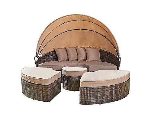 Bruce Furniture All-Weather Round Patio Wicker Furniture, Outdoor Daybed Sofa Set W/Retractable Canopy, 4 Separated Cushioned Seats 1 Round ()