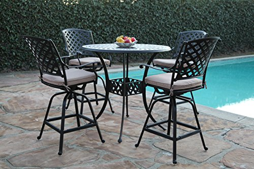 Kawaii Collections Outdoor Patio 5 Piece Cast Aluminum 42