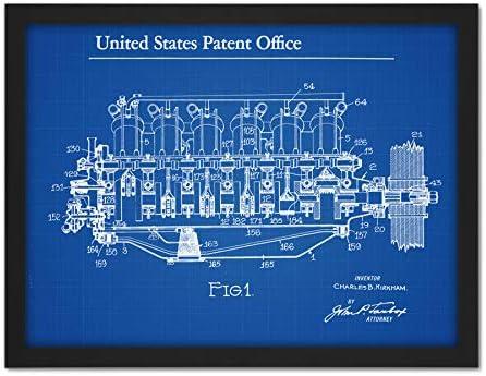 Curtiss Kirkham Aeronautical Motor 1920 Patent Artwork Framed Wall Art Print 18X24 Inch