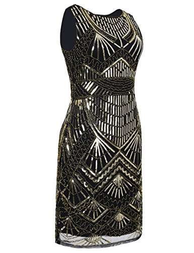 PrettyGuide Mujeres Rugido 20s Vintage Art Deco Lentejuela Vestido Flapper Oro