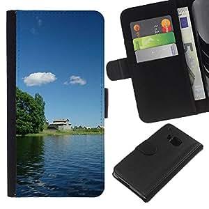 JackGot ( Natura Bella Forrest verde 163 ) HTC One M7 la tarjeta de Crédito Slots PU Funda de cuero Monedero caso cubierta de piel