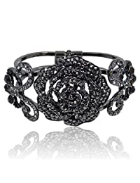 Ever Faith Black-Tone Insect Butterfly Rose Bracelet Black Austrian Crystal A01325-1