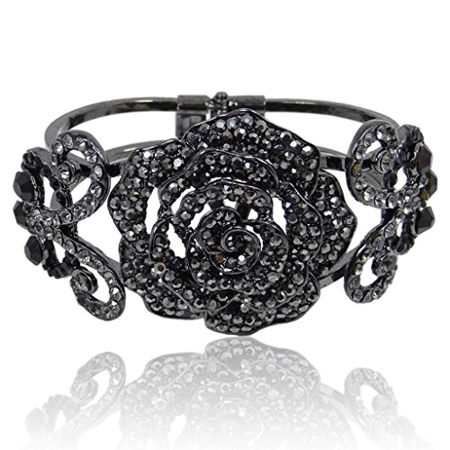 EVER FAITH Black-Tone Insect Butterfly Rose Bracelet Black Austrian Crystal