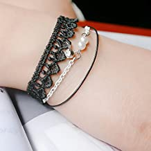 YAZILIND Vintage Jewelry Gothic Lolita Style Charming Small Round Beads Black Lace Multilayer Bracelet for Women
