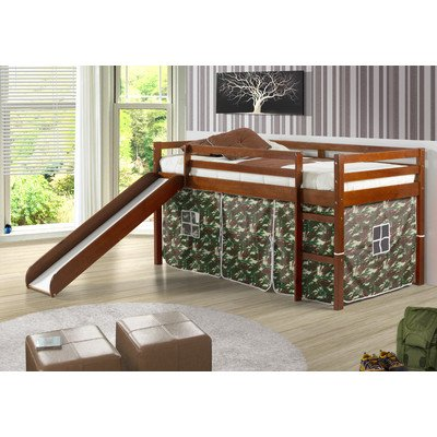 Twin Tent Loft Bed with Slide Finish: Light Espresso, Color: Camo