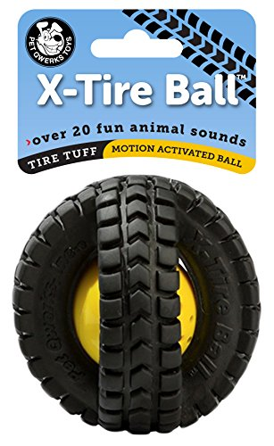 Pet Qwerks Tire Tuff X-Tire Dog Ball with Animal Sounds - Motion Activated (Babble Ball Interactive Toy)
