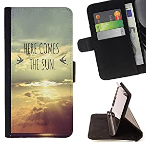 BullDog Case - FOR/Apple Iphone 4 / 4S / - / here comes the sun lyrics band sunset /- Monedero de cuero de la PU Llevar cubierta de la caja con el ID Credit Card Slots Flip funda de cuer