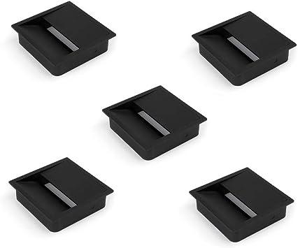 Emuca - Tapa pasacables cuadrada 85x85mm para encastrar en escritorio/mesa, organizador de cables para mueble, plástico negro, Lote de 5: Amazon.es: Bricolaje y herramientas