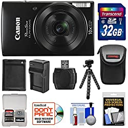 Kit includes:♦ 1) Canon PowerShot Elph 190 IS Wi-Fi Digital Camera (Black)♦ 2) Transcend 32GB SecureDigital (SDHC) 300x UHS-1 Class 10 Memory Card♦ 3) Spare NB-11L/NB-11LH Battery for Canon♦ 4) Battery Charger for Canon NB-11L/NB-11LH♦ 5) Precision D...